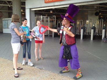 Middle School girls with an awesome clown at the MARTA station